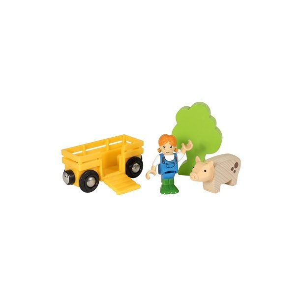 World, bondepige m/ gris og vogn (33875 ), Brio - togbaner